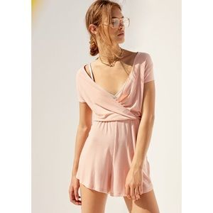 Urban Outfitters Light Pink Surplice Romper Size M